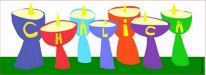 seven chalices of different colors, spelling the word CHALICA