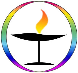 Flaming Chalice in a Rainbow circle