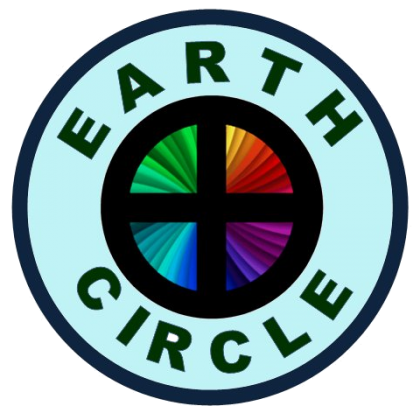 blue circle quartered by a cross with the words Earth Circle around the edge